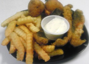 #2 2pc fish, fries, hush puppies & Drink $6.99