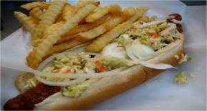 Chili Cheese Slaw Footlong, Fries & Drink $7.50
